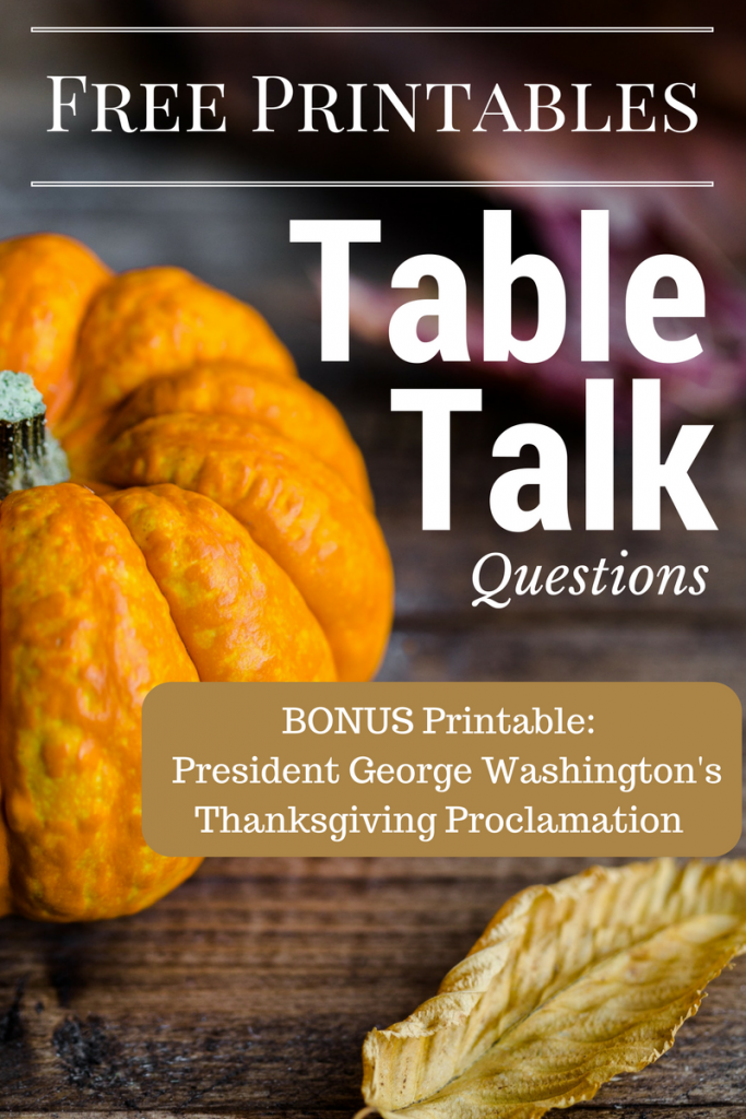 A Table Talk PRINTABLE. Keep Thanksgiving conversationsi light and fun. PLUS, a BONUS PRINTABLE for the family history buff!